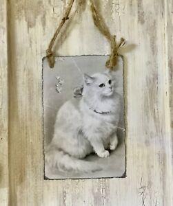 Neu Von Perlenglitter ~Bild Hänger Schild Katze Vintage
