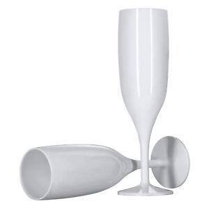 6 x White Champagne Flutes Reusable 175ml Prosecco Glasses Plastic Washable