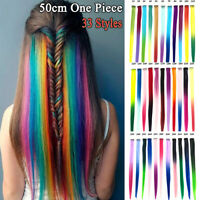 Clip In One Piece Hair Extensions Synthetic Long Straight Rainbow GradientColor