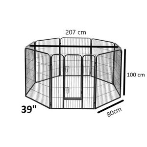 8 Panel Pet Dog Playpen Puppy Exercise Cage Enclosure Cat Play Pen 100x80cm 39in