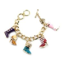 Gold Toned Charm Bracelet With Multi-Color Boot Shoes Charms