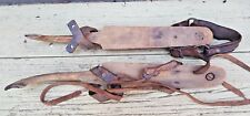 PRIMITIVE ICE SKATES PAIR UNMATCHED LEATHER METAL WOOD BRASS ANTIQUE DECOR