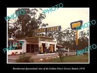 OLD LARGE HISTORIC PHOTO OF BEERBURRUM QLD, GOLDEN FLEECE SERVICE STATION c1970