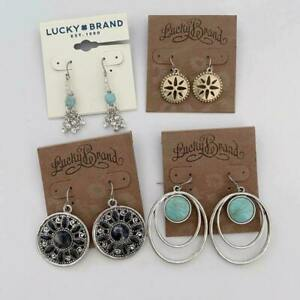 LUCKY BRAND GOLD/SILVER TURQUOISE,BLUE RESIN CUT CRYSTAL EARRINGS LOT(4 PCS)