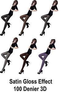 Women's Satin De Luxe Tights 100 Denier 3D, High Gloss, Shiny Opaque Tights