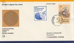 1972 Kenya cover First Flight by Lufthansa Nairobi-Frankfurt Germany