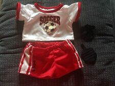 BUILD-A-BEAR RED WHITE SOCCER UNIFORM Set TEDDY SIZE SPORTS CLOTHES COSTUME Boy