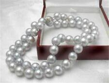 """New 8MM Gray Akoya Cultured Shell Pearl Necklace 18"""" AAA"""