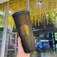 China Starbucks Tumbler Black Bling Gold Glitter Diamond studded 24oz Cold Cup