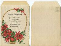 VINTAGE CHRISTMAS RED POINSETTIA FLOWER BASKET HOLLY LEAVES FLORA GREETING CARD