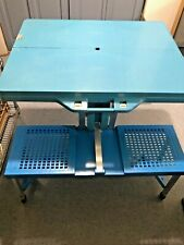 Vintage Blue Northstar Handy Folding Suitcase Picnic Versa Table and Chair Set