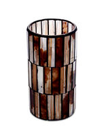 LED Bar Mosaic Candle 3x6 inch Wax Glass Safe Flame Less Flickering by Melrose