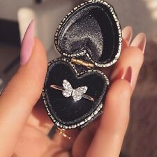 Diamond Butterfly Ring Exquisite 925 Silver Filled Rings White Sapphire Jewelry