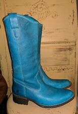 RARE BORN OILED LEATHER TURQUOISE LADIES COWBOY WESTERN RODEO BOOTS 9.5 M 41