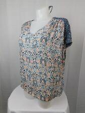 Lucky Brand Plus Size Short Sleeve Mixed-Print Top 3X Peach-Blue #1567