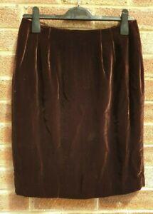 VALERIE STEVENS RN13711 Womens Brown Rayon/Silk Pencil Full Lined Skirt Size 10