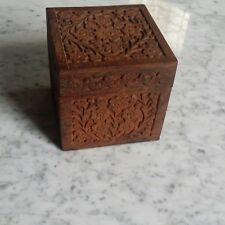 """Hand Carved Indian Floral Design Wooden Box 4 1/2 """" Square"""