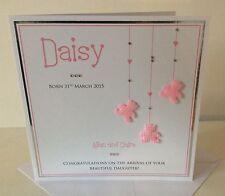 Large Handmade Personalised New Baby Girl Bears Congratulations Keepsake Card