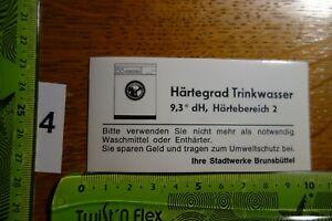 Alter Aufkleber Waschmaschine Waschmittel Härtebereich Stadtwerke Brunsbüttel