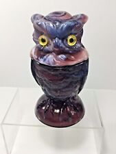 "Vintage, 6.5"" Imperial Glass Amethyst Slag Toby Owl Covered Dish Figurine"
