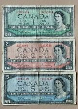 New listing Canada Lot Of 3 Banknotes $1, $2 And $5 From 1954 Circulated No Reserve