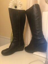 camper black leather knee high zip week wedge boots size 6 39 willy negro fur sa