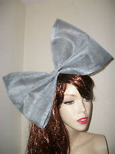 NEW Big Silver Bow Fascinator Hairband 80s Hen Party Headband Costume Wedding