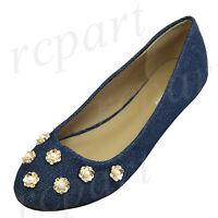New women's shoes ballerina ballet flats pearl flowers wedding prom Blue Denim
