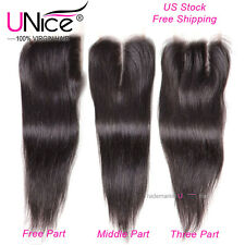 UNice 8A 100% Indian Hair 4*4 Free/Middle/Three Lace Closure Human Hair US Stock