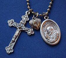 Padre Pio Saint Medal Liturgy Cross Necklace