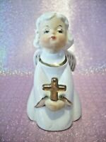 *RARE Vintage* Easter Christmas White Angel Holds Gold Cross Figurine