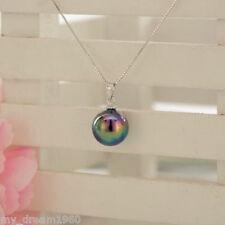 Fashion Women's 14MM Rainbow Black South Sea Shell pearl Round pendant Jewelry
