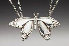 "SILVER SPOON BUTTERFLY PENDANT NECKLACE SILVER PLATED 1 7/8"" X 1"""