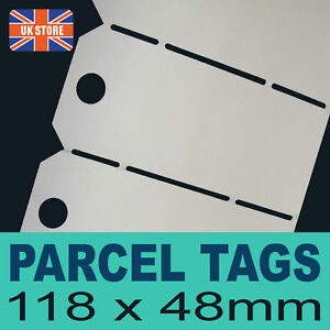 25 x Quality White Parcel Tags - Labels Hole Punched
