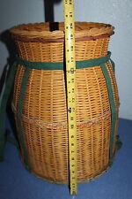 vintage     Large      Woven   wicker      Barrel    basket  20 x 16