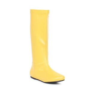 "Ellie 106-AVENGE Yellow 1"" Heel Mid Calf Boot Funky Superhero Womens Boots"
