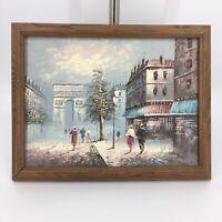 Parisian Street (Temple) Oil Painting In Frame Impressionist Arc de Triomphe