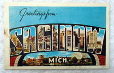 LARGE LETTER LINEN POSTCARD GREETINGS FROM SAGINAW MICHIGAN #Q0
