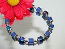 Armband Würfel Cube Glas marmoriert royal türkis gold Polaris blau silber 068q