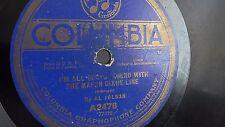 Al Jolson - 78rpm single 10-inch – Columbia #A 2478 I'm All Bound 'Round...