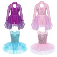 Kids Girls Lyrical Ballet Dance Dress Costume Sequin Cutout Back Leotard Costume