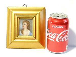Vintage Portrait Miniature of Lady with Pearls in Hair in Wide Gold Colour Frame