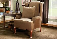 Sure Fit Stretch Stripe Wing Chair Slipcover in Brown