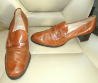 Enzo Angiolini Womens Size 9.5 Brown Leather Heel Slip On Womens Shoes Pumps