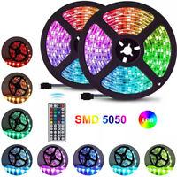 32.8ft SMD 5050 RGB Flexible Led Strip Lights 44 Key IR Remote IP65 Waterproof
