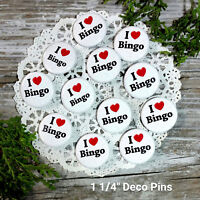 "12 Individual bag BINGO Pins 1 1/4"" Pinback Buttons Party Favor Gift New USA"