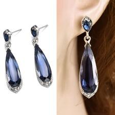 925 Silver Women Blue Long Water Drop Elegant Stud Earrings Crystal Jewelry