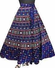 Indian Vintage Cotton Long Skirt Wrap Bohemian Flamenco Gypsy Reversible Sari