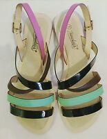 Timeless black, green & pink strappy sandals, brand new size 5 UK, 38 EU.