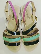 Timeless black, green & pink strappy sandals, brand new size 5 UK, 38 EU.